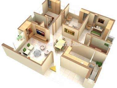 ISOMETRIC-aprtment interior