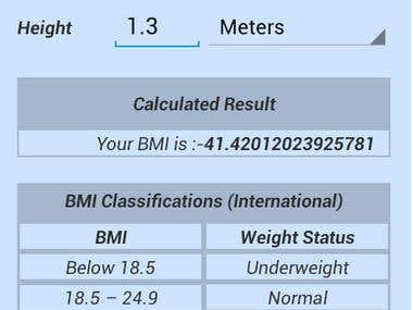 Body Mass Index App