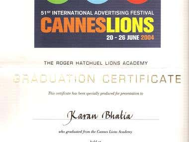 My Cannes Lions Academy 2004 Certificate