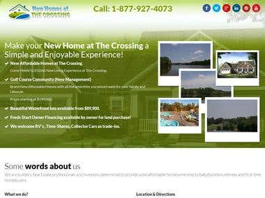 Responsive Landing page - New Homes at the crossing