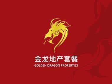 Golden dragon company logo design
