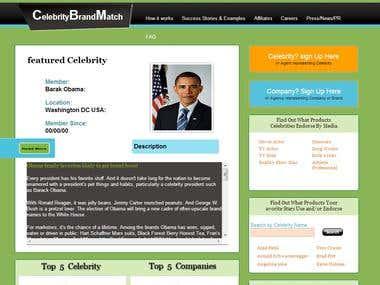 Web Design & Development For  CelebrityBrandMatch