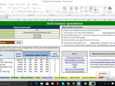 Excel based portfolio management tool