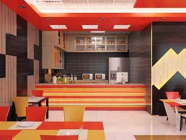Restaurant 3D Rendering.