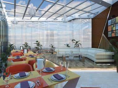 Rooftop Restaurant 3D Rendering.