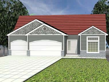 2d floor plan, and 3d front Elevation.