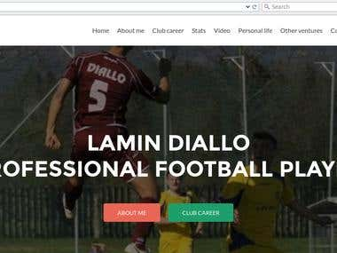 Parallax scrolling site of an International Football Player