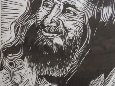 Linocut and painting