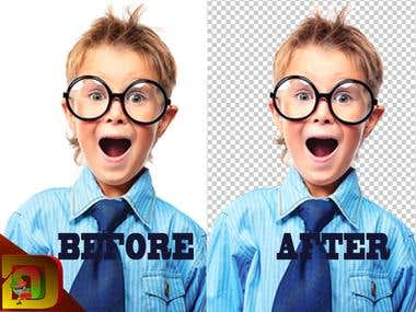 Transparent backgrund before and after
