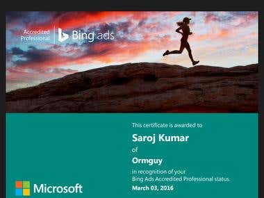 Bing Ads Accredite  Certified professional