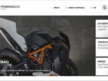 Automobiles service website (www.auto-pfandhaus.ch)