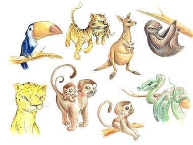 Drawing of animals.