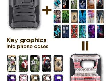 Key graphics into phone cases