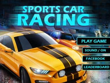 sport car racing game ui