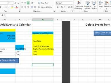Create Google Calendar Events directly from Excel..OAuth