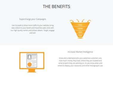 Landing page design for a marketing Intelligence platform