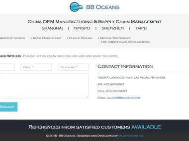 Landing contact page design for 88oceans