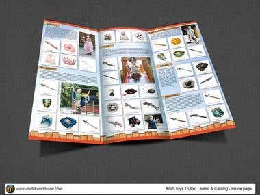 Toys product tri-fold catalog