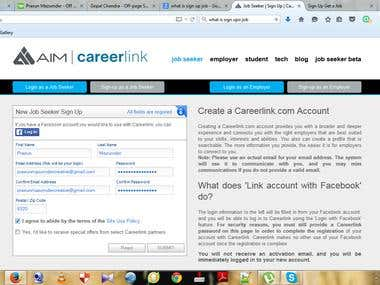 Demo project of sign up job