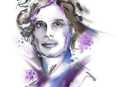 watercolor style portrait