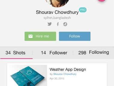 Dribbble profile screen design
