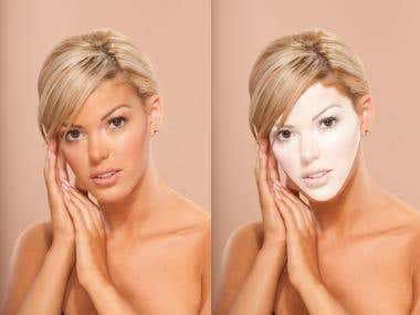 Advanced skin retouching & white skin effect