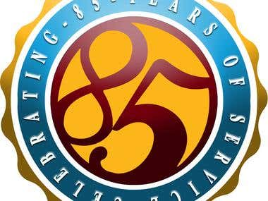 Celebrating 85 years service logo