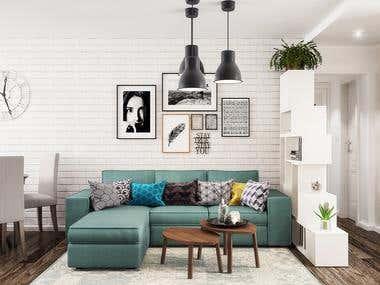 Living Room and Bathroom Interior Design