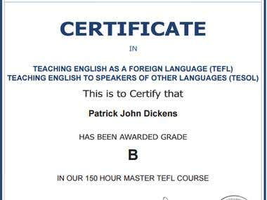 Certificate to teach English