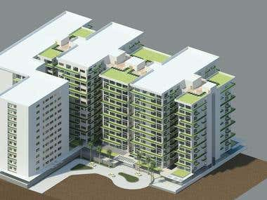 Architectural project Mass housing at Nairobi