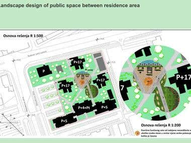 Landscape project of a public area