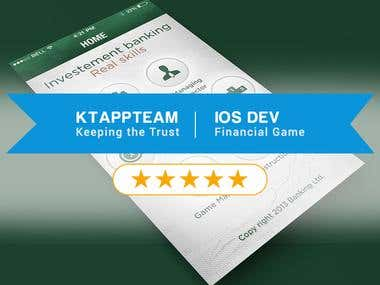iOS development, UI/UX design for Financial Services Games