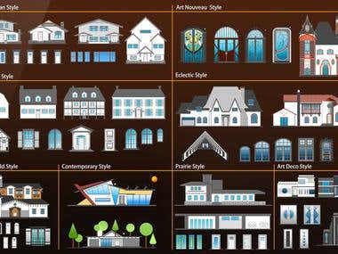 American homes architecture styles vectors