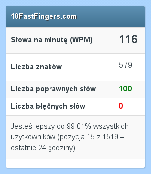 10 Fastfingers - Polish typing speed