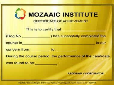 Certificate Sample Model