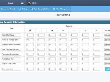 Improve reservation system of tour website