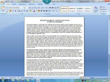 Data Entry of Word Document