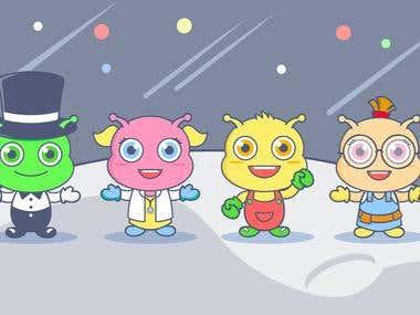 Cute alien friends