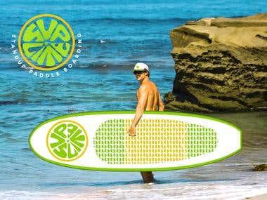 Suplime - surfboard logo design