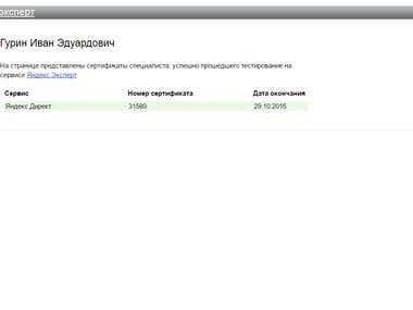 Yandex Direct Certificate Expert