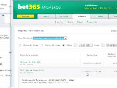 Odds history for a www.BET365.com and WilliamHill.com member