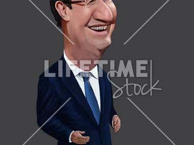 Political Caricature Illustration.