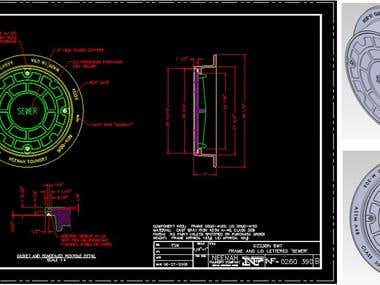 Manhole Autocad Drawing Converted to Solidowrks 3d