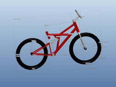 Design/Modelling of a bicycle using Pro/E,SolidWorks,AutoCAD