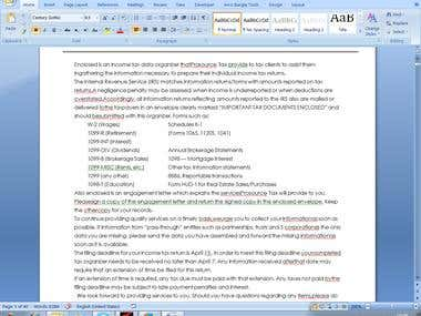 word document entry