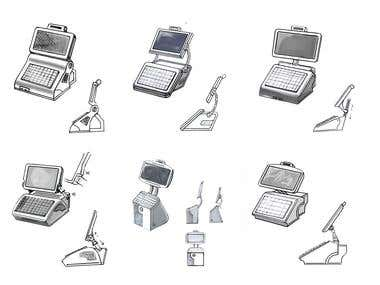 Sketch. Cash-desk industrial design. Photoshop
