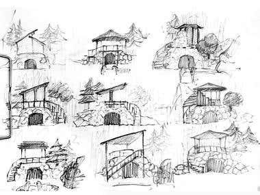 Sketch. Garden house design
