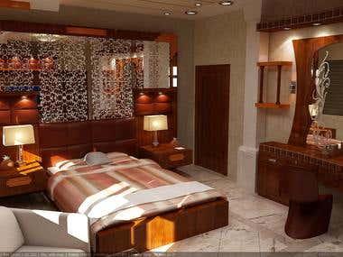 VILLA INTERIOR DESIGN (BED ROOM, SALON)