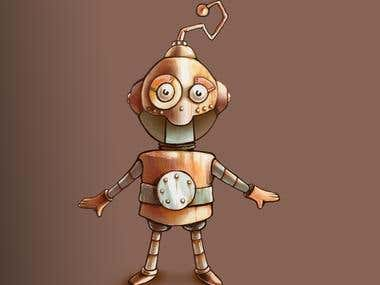 Steampunk Robot Cartoon Character