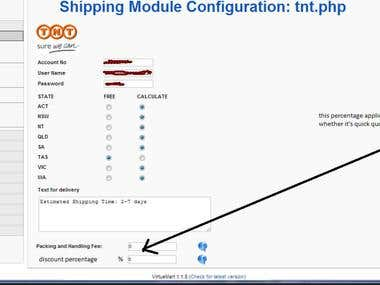 Joomla Virtuemart shipping module